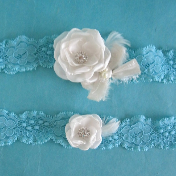 Wedding Garter Tiffany Blue lace, Ivory Roses,  bridal garter set E252, bridal garter accessory