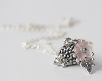 Holly the Hedgehog | Cute Silver Hedgehog Necklace | Tiny Hedgehog Charm Necklace | Hedgehog Pendant