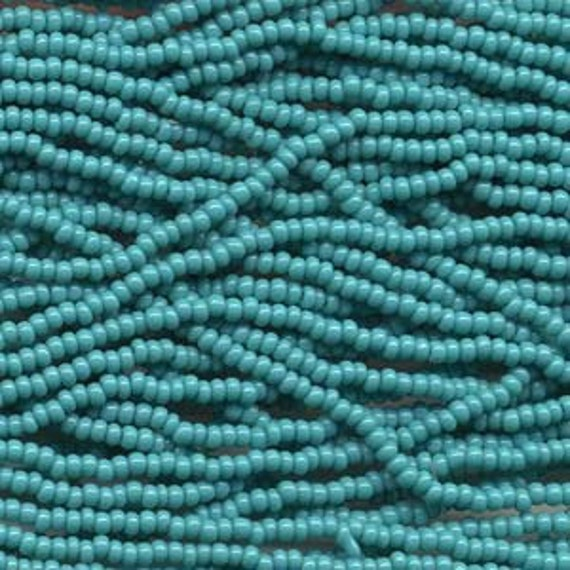 Green Turquoise, 8/0 Czech Seed Beads, Twelve 20 inch Strands, 2 Hanks
