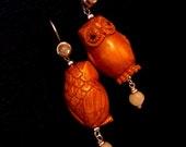 EXTREME FININSHING SALE Sterling Silver Gemstone Wise Netsuke Owl Earrings (12)