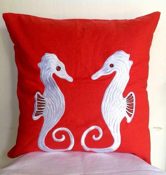 Decorative Pillows Horses : Red throw pillows Sea Horse on Red Beach Pillow by Snazzyliving