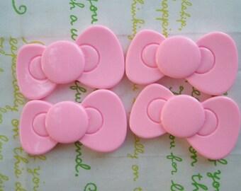 BIG Kitty bow cabochons 4pcs  Pink 40mm x 23mm