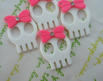SALE Skull with bow and rhinestone 4pcs  White (Type B)