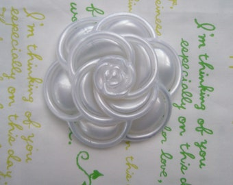 Pearlized Huge Camelia Flower Pearly White Frame 1pc White