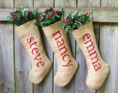 Personalized Burlap Christmas Holiday Stockings