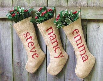 Personalized Burlap Christmas Holiday Stockings