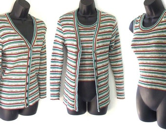 70s Multi Color Stripe Cardigan and Sleeveless Sweater XS S