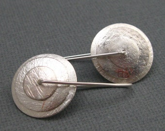 Layered Sterling Silver Disc Earrings, Handcrafted Artisan Sterling Jewelry