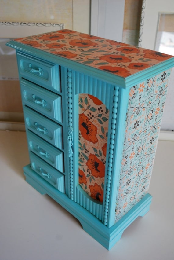 Refurbished Vintage Jewelry Box - Tall Blue and Orange