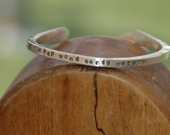 zen phrase sterling silver cuff bracelet small