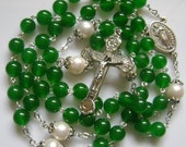 Rare Green Jade Beads & AAA10MM Real Pearl Rosary necklace cross