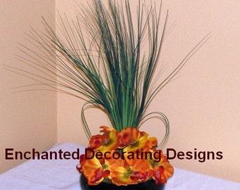 Wedding centerpiece Flower Burnt Orange and Yellow  Orchid Centerpiece Decoration silk flower table centerpiece