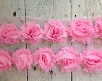 NEW-Shabby Chic CARNATION PINK Mini Rose Trim on Net-1 1/2 inch- 1/2  yard