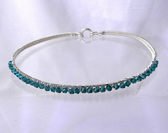 "Discreet Slave Collar Sterling Silver with Teal Bi-cone Swarovski Crystal Elements Public Day Collar will fit a 15"" neck"