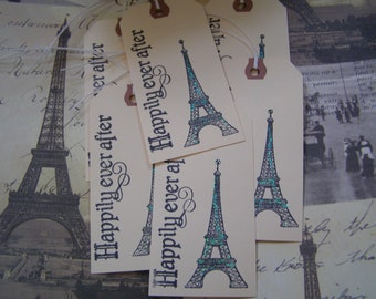 Happily Ever After Eiffel Tower - Wedding - Wish Tree - Anniversary  handmade Gift-Tag - Invitation Tag set of 6 French Shabby Chic Style