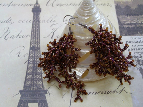 Couquillage Hand Beaded Coral Design Earrings OOAK