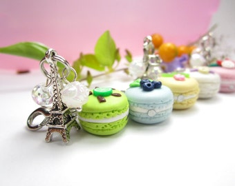 Fruit French Macaron Bracelet Food Jewelry, food bracelet, French Macaron jewelry, cute Paris charms, polymer clay, unique womens gifts