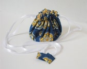 Yellow Medallions on Blue Fabric Posy Pouch