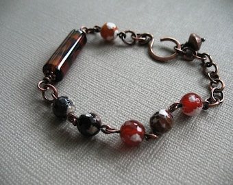 Textured Copper Bracelet with Faceted Agate and Etched Agate Beads Copper Link and Chain Bracelet