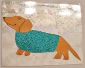 Winter Card Holographic Snowflake Dachshund Wiener Dog In Sweater Collage With Envelope