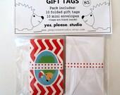 Hedgehog Folded Gift Tags with Mini Envelopes - set of 10