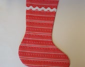 Bright Red Striped Christmas Stocking with White Lining
