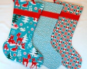 Set of Three Modern Christmas Stockings in Teal and Red - yespleasestudio