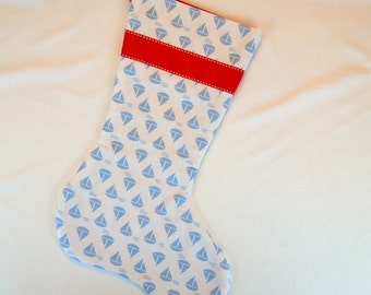 Blue Sailboats on White Christmas Stocking with Red Ribbon and Lining