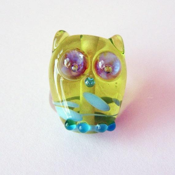 Lampwork Owl Bead Lime Green Classy Owl by keiara SRA