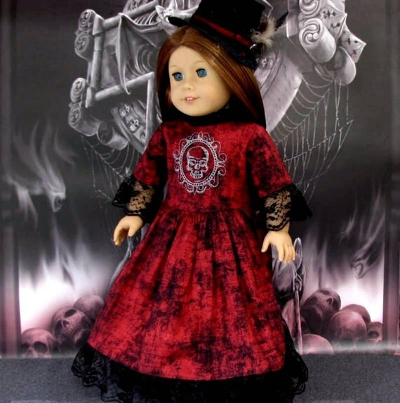 RESERVED for Beth: Bram's Bride - American Girl Doll Clothes Victorian Gothic Steampunk Gown, Lace Hat