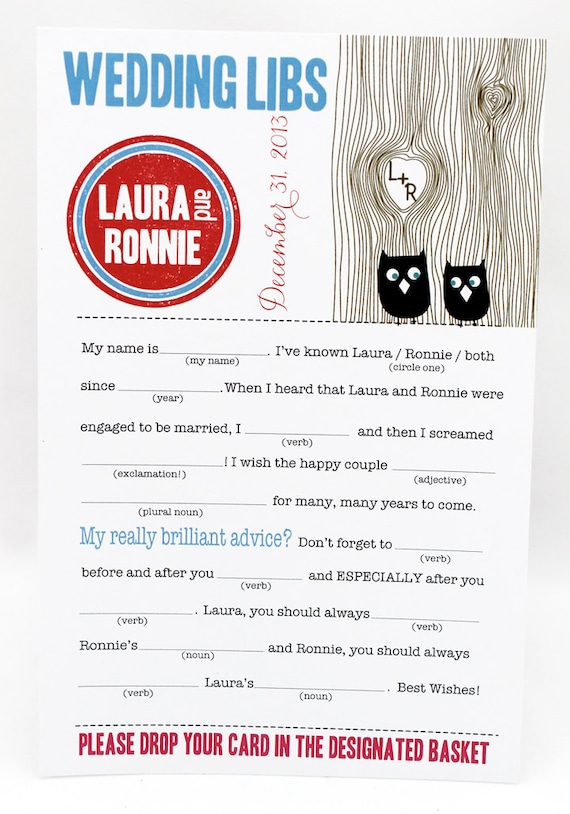 Wedding Mad Libs PDF FILE Print Yourself  Love Owls Colors are Customizable Includes Word Bank