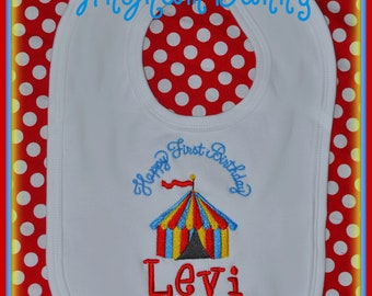 Birthday Bib, Circus Birthday Bib, First Birthday Bib, 1st Birthday Bib, Baby Gift, Baby Birthday Gift, Christmas Gift, Circus Bib