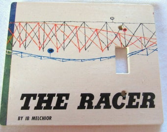 vintage men's magazine THE RACER  extra large size, single toggle light switch plate