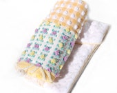 Lovey Baby Chenille Quilt - Yellow Vintage Chenille Handmade Patchwork Lap Quilt - KellinaDesigns