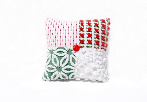 Christmas Chenille Pillow - Green Red Rosebud Vintage Chenille Handmade Charm Pillow