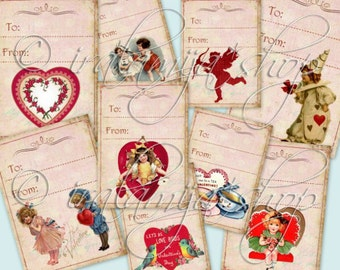 MY VALENTINE TAgS collage Digital Images  -printable download file-