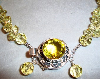 Jonquil Yellow Necklace Made With Swarovski Crystals and Sterling Silver