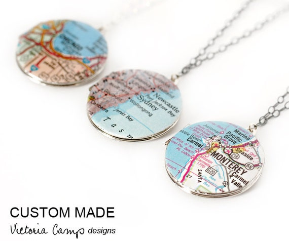 Custom Map Necklace, Round Vintage Locket, Personalized, Sterling Silver Chain, Map Jewelry - SILVER version