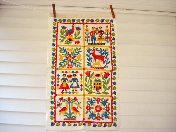 Bright folk art tea towel