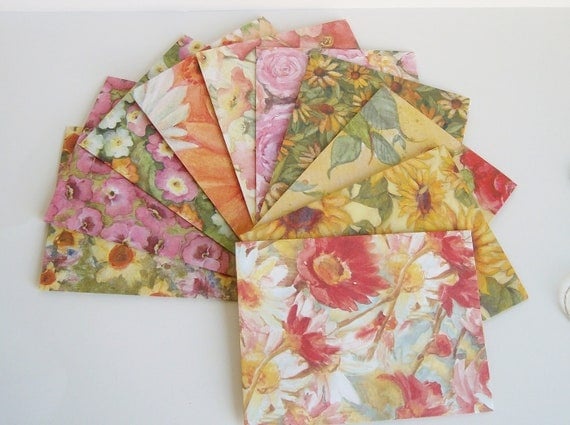 10 Assorted watercolor flower envelopes - size 4 bar - 4 x 5 1/4 - guest book envelopes - medium envelopes - invitation envelope - scrapbook