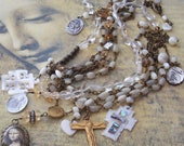 Here Comes the Sun Citrine and Antique French Mother of Pearl  Rosary necklace