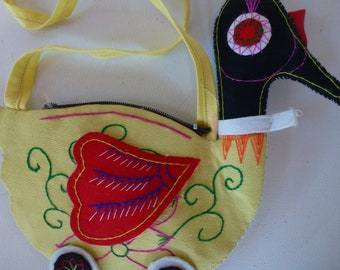 Chinese Duck Purse Pouch Bag Tote Souvenir From China Chinese Travel Souvenir Yellow Red  Goose