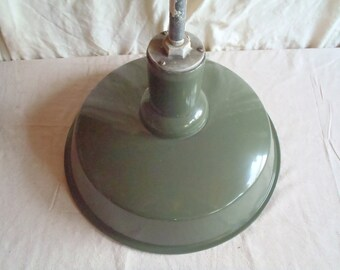 "Vintage 1920s Enamel Factory Light with 37"" Mount"