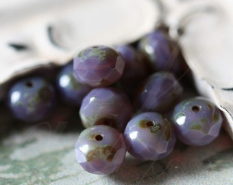 sale .. AGED Forget-me-Knots .. 10 Picasso Czech Glass Beads 6x8mm (2902-6)