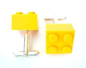 Yellow Brick Cufflinks, Cufflinks for weddings, office, grooms - Silver Plated - Handmade with LEGO(r) bricks