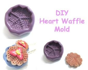 Heart Waffle Mold, Miniature Food Supply, Polymer Clay Food Supply