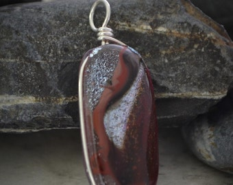 Dichroic Fused Glass Pendant - red, silver, and brown fused glass jewelry (by Meagan Chaney Gumpert)