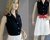 Vintage Dress 60s Lacoste Navy Blue White David Crystal Preppy Button Up  XS