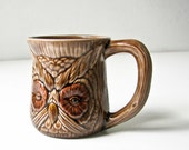 4 Ceramic Owl Cups - Coffee Tea Woodland Creature Mugs