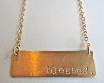 "Gold Necklace - Modern Plate ""blessed"" 14kgf"
